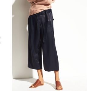 NEW w/tag Vince Blue Satin Belted Culotte Pants